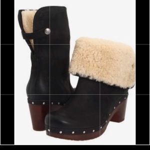 UGG Shoes - Ugg Lynnea Black Shearling Clog Boots Leather